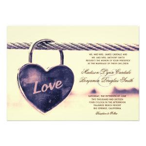 Love Heart Shaped Lock Wedding Invitations Announcement