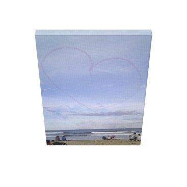 Beach Themed Love heart skyline canvas print