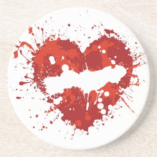 love  heart splash drink coasters