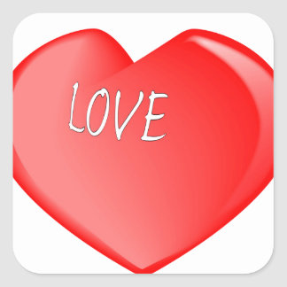 Love Heart Square Sticker