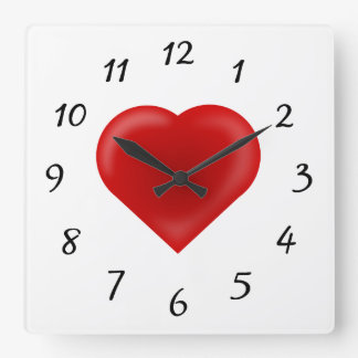 Love Heart Square Wall Clock