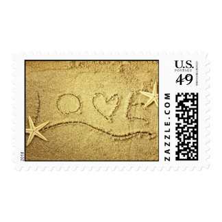 Love Heart Starfish Beach Wedding Invitation Stamp