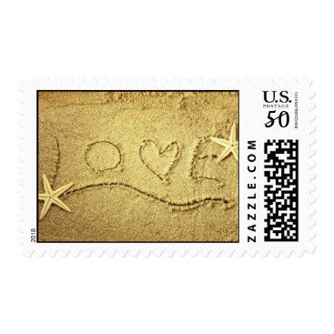 Valentines Themed Love Heart Starfish Beach Wedding Invitation Stamp