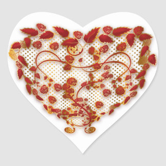 love heart sticker - embossed red and gold effect