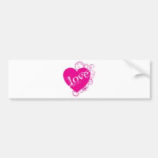 Love Heart Swirl Design Bumper Sticker