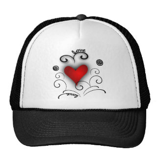 Love Heart Swirl - Red And Black With Effects Trucker Hats