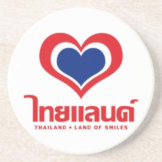 Love [Heart] Thailand ♦ Thai Language Script ♦ Sandstone Coaster