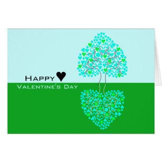Love Heart Three Green Blue Valentine Card