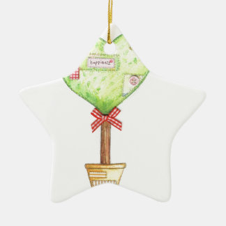 love heart tree design ceramic ornament