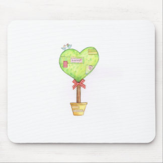 love heart tree design mouse pad