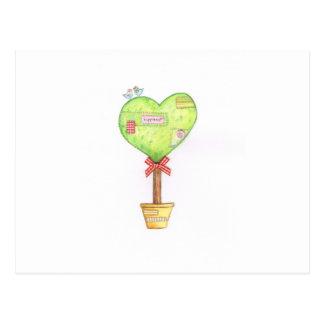 love heart tree design postcard
