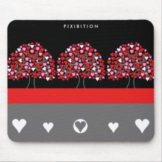 Love Heart Tree Red Black White Mousepad