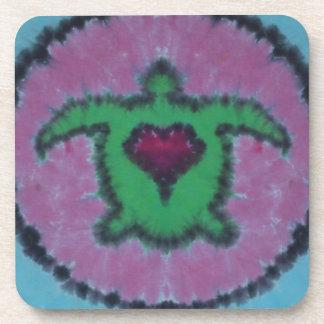 Love Heart Turtle Tie Dye Drink Coaster