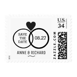 love heart & two wedding rings personalized b/w postage