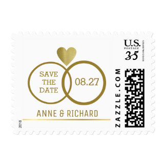 love heart & two wedding rings personalized postage