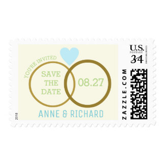 love heart & two wedding rings / save the date postage