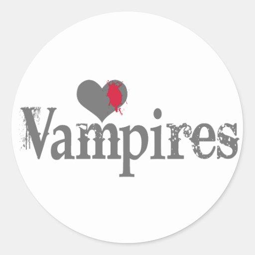 Love (Heart) Vampires Classic Round Sticker