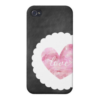 Love Heart Watercolor Chalkboard iPhone Case iPhone 4/4S Cover