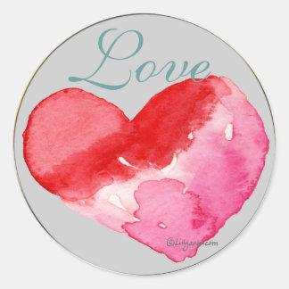 Love Heart Wedding Envelope Seal Classic Round Sticker