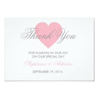 Love heart wedding thank you card