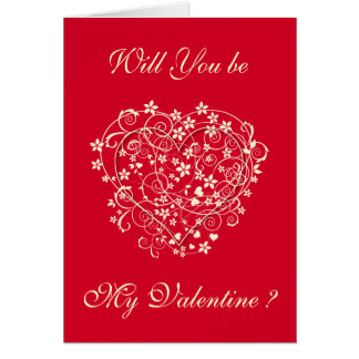 Love heart with cream florals on red greeting card