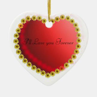 Love Heart with Daisy's Double-Sided Heart Ceramic Christmas Ornament