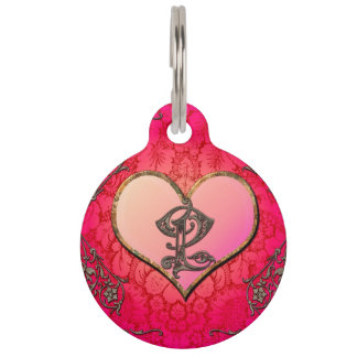 Love, heart with floral elements pet ID tag