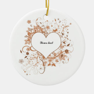 Love heart with flowers ceramic ornament