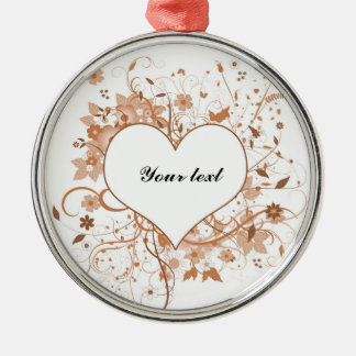 Love heart with flowers metal ornament