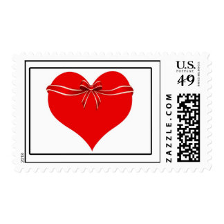 Love Heart With Red Ribbon Postage Stamp