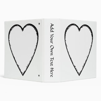 Love Heart with Scribble Edge. 3 Ring Binder