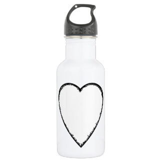 Love Heart with Scribble Edge. Water Bottle