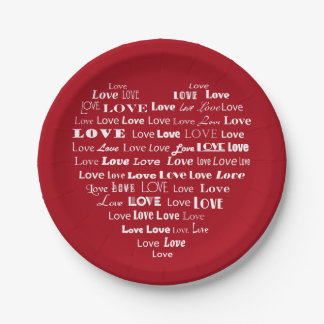 Love Heart Word Cloud - White on Dark Red 7 Inch Paper Plate