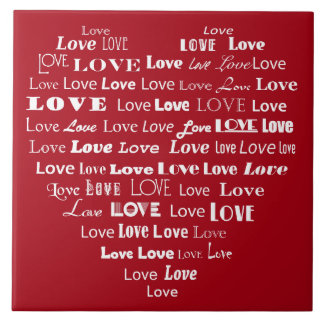 Love Heart Word Cloud - White on Dark Red Large Square Tile