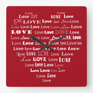 Love Heart Word Cloud - White on Dark Red Square Wall Clock