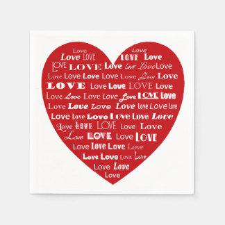 Love Heart Word Cloud - White on Dark Red Standard Cocktail Napkin