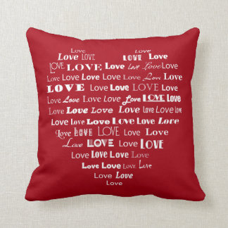 Love Heart Word Cloud - White on Dark Red Throw Pillow