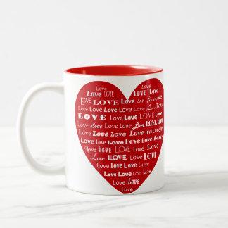Love Heart Word Cloud - White on Dark Red Two-Tone Coffee Mug
