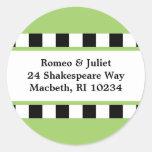 Love! Hearts Address Label - Green Round Sticker