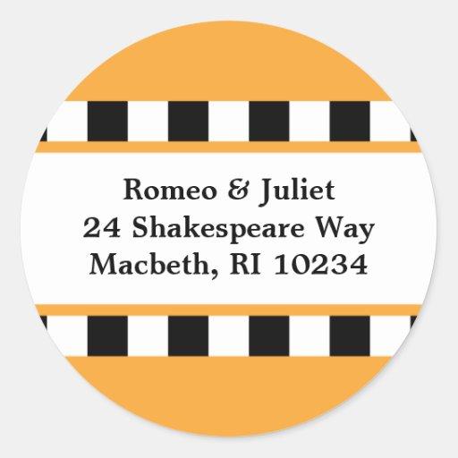 Love! Hearts Address Label - Orange Round Sticker