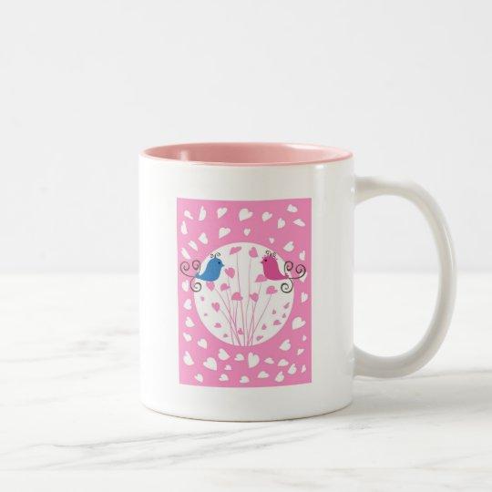 Love hearts and birds Two-Tone coffee mug