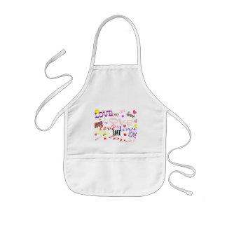 love hearts and kisses kids apron