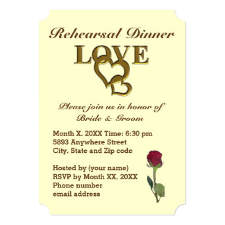 Love Hearts and Red Rose Rehearsal Dinner Invite