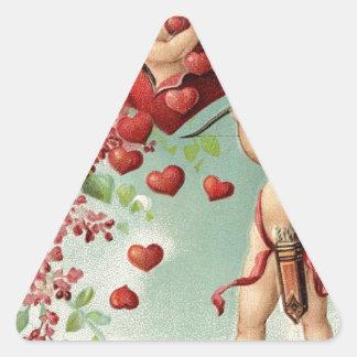 love hearts angel cherub vintage valentine triangle sticker