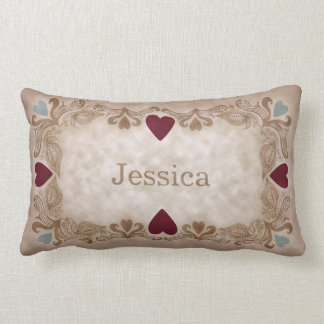 Love & Hearts Antique Vintage Style Custom Name Lumbar Pillow
