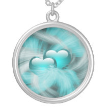 love hearts aqua silver plated necklace