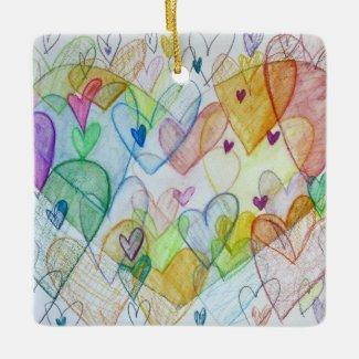 Love Hearts Art Custom Holiday Gift Ornaments