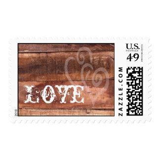 Love Hearts Barn Wood Rustic Wedding Postage Stamp