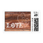 Love Hearts Barn Wood Rustic Wedding Stamps