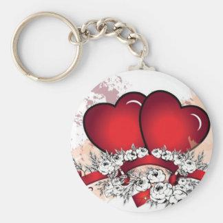 Love Hearts Basic Round Button Keychain
